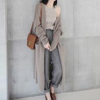 【韓系女衫】長版庸懶休閒風長版毛衣罩衫/外套-2色【現貨加預購】