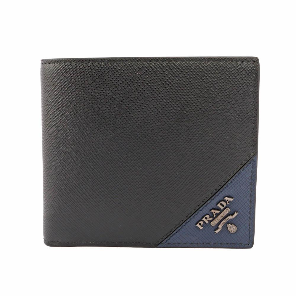 【PRADA】銀LOGO拼色零錢袋對開短夾(黑/深藍)