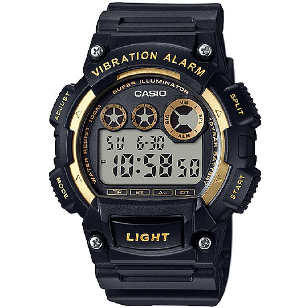 CASIO 靜音振動數位電子腕錶-黑X金(W-735H-1A2)