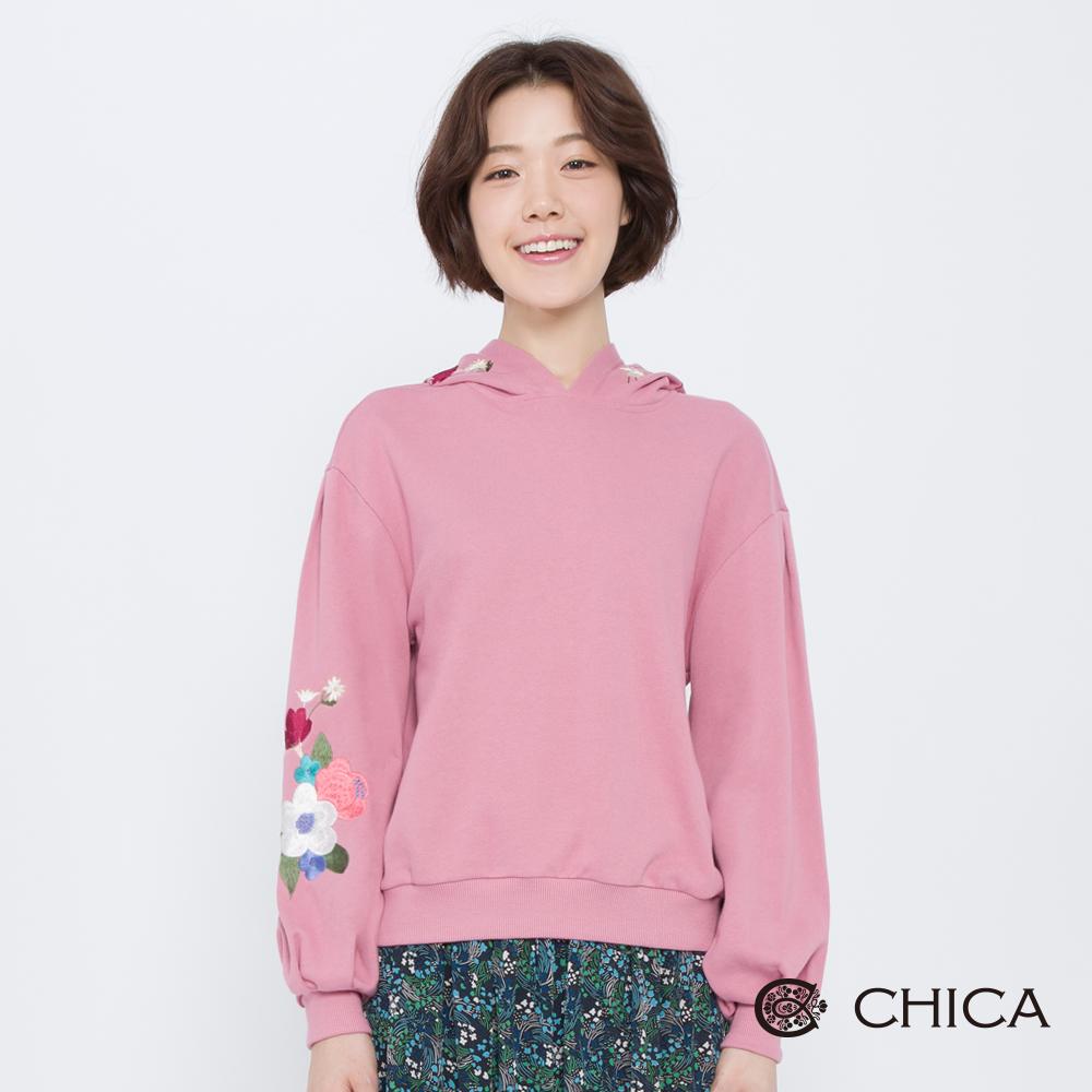 CHICA 花言鳥語艷彩刺繡連帽衛衣(3色)