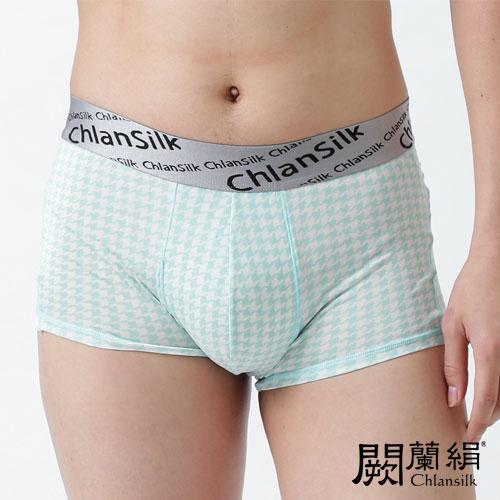 【Chlansilk闕蘭絹】100%蠶絲清新千鳥白廠絲男平口褲-綠