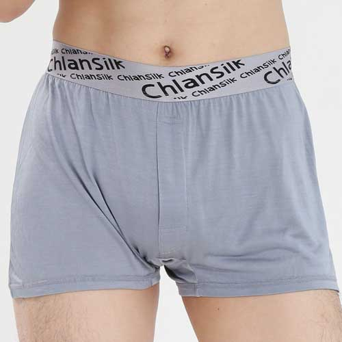 【Chlansilk闕蘭絹】100%蠶絲完美型男舒適透氣四角平口褲-88991(淺灰)