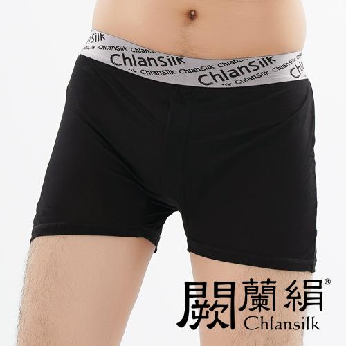【Chlansilk闕蘭絹】100%蠶絲舒適透氣四角平口褲-88993-1(黑)