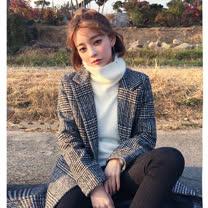 【最水】殺光底片韓版格紋舖棉長外套