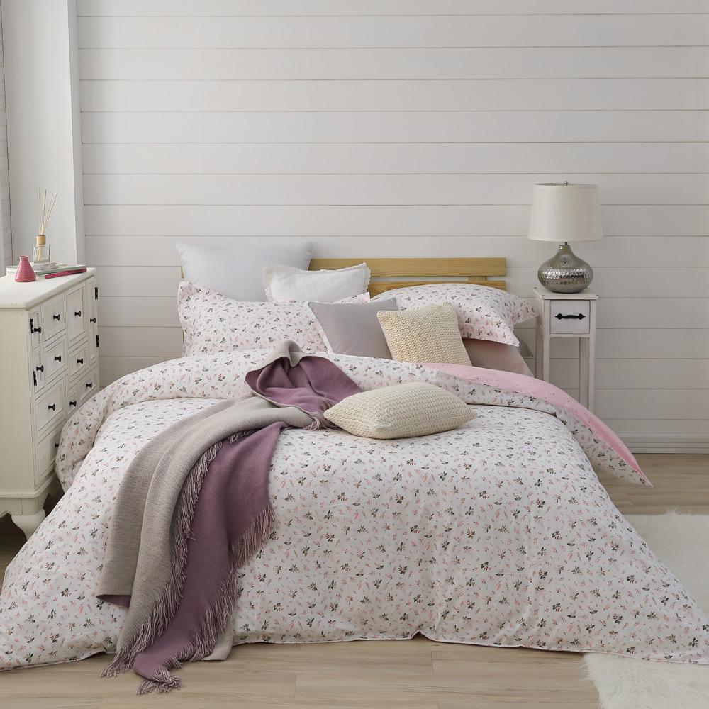 BBL 甜謐花氛 100%精梳棉印花加大兩用被床包組