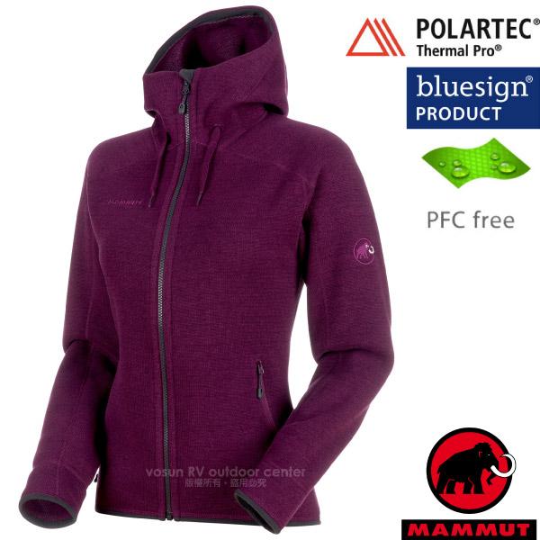 【瑞士 MAMMUT 長毛象】女款 Arctic ML Hooded 透氣快乾保暖連帽夾克外套/Polartec Thermal Pro保溫.PFC-free無氟撥水/15703-4008 葡萄紫