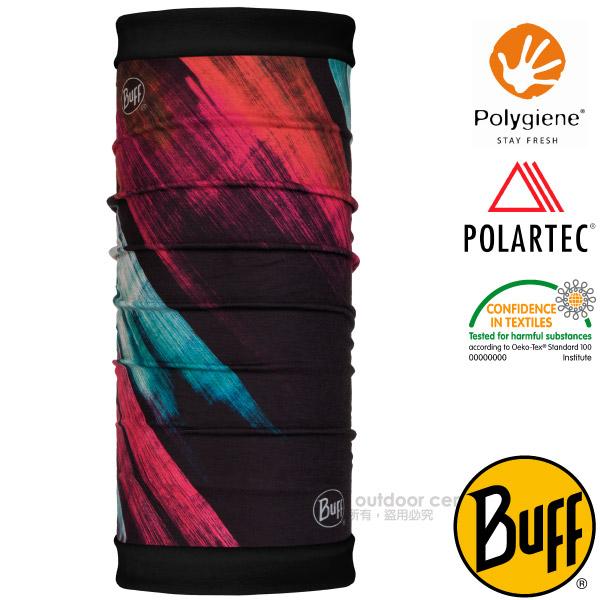 【西班牙 BUFF】POLARTEC 雙面用超彈性保暖魔術頭巾PLUS(吸溼排汗+抗菌除臭)可當圍巾_口罩_圍脖帽子_118054 粉彩刷墨