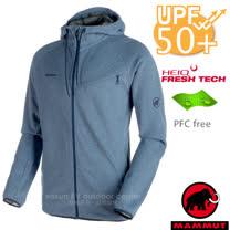 【瑞士 MAMMUT 長毛象】男新款 Logo Hooded 透氣保暖連帽刷毛外套.中間層夾克/spacer保暖抓絨.HeiQ Fresh Tech防異味/23270-5784 海洋藍