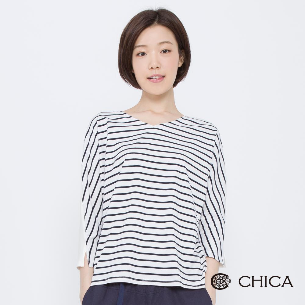 CHICA 純潔艾利背綁帶拼接條紋上衣(2色)