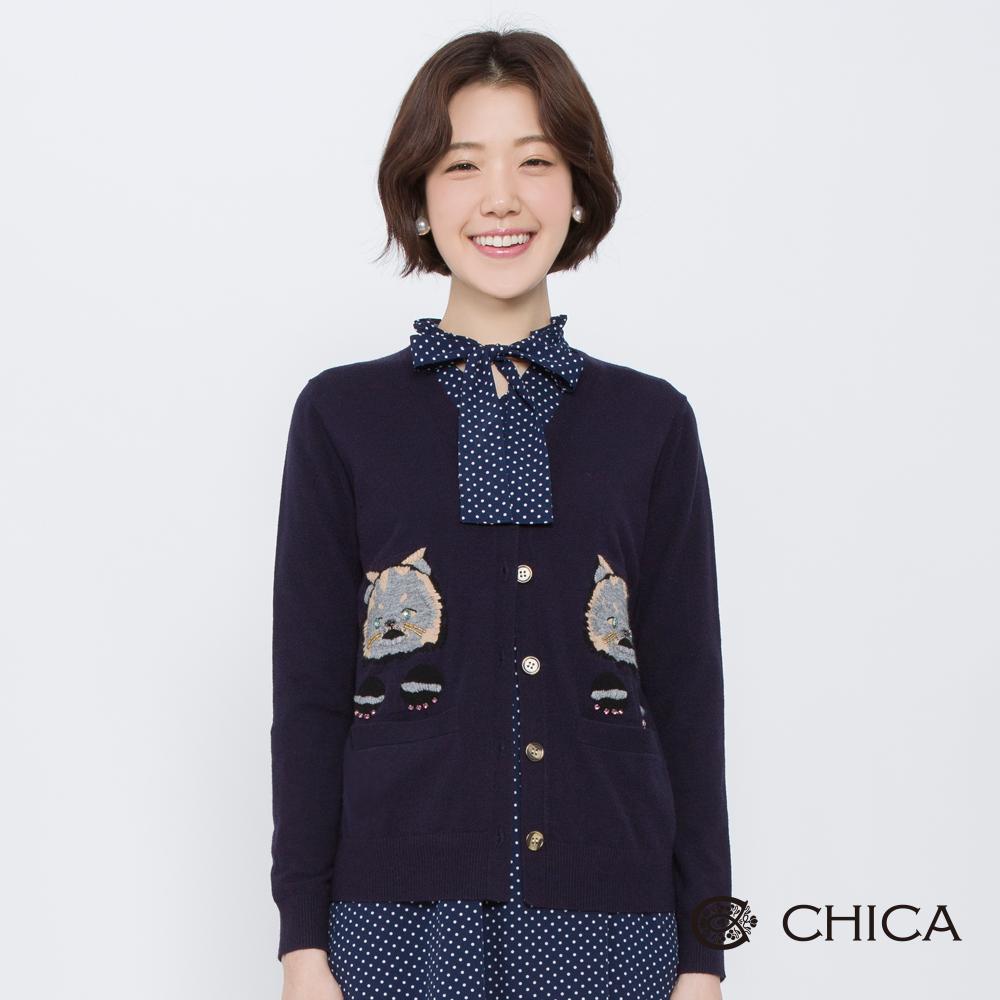 CHICA 輕復刻珠飾貓咪刺繡針織外套(2色)