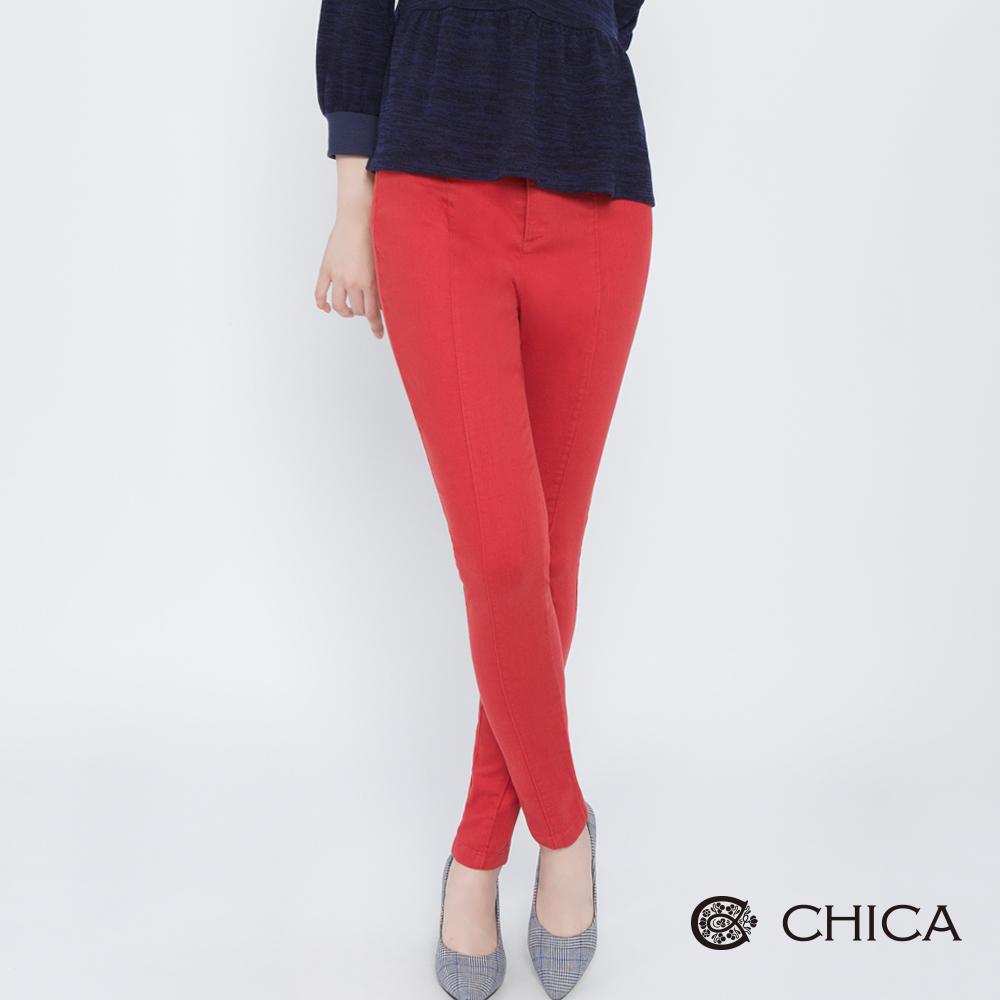 CHICA 騎士達芙妮壓褶修身直筒褲(2色)