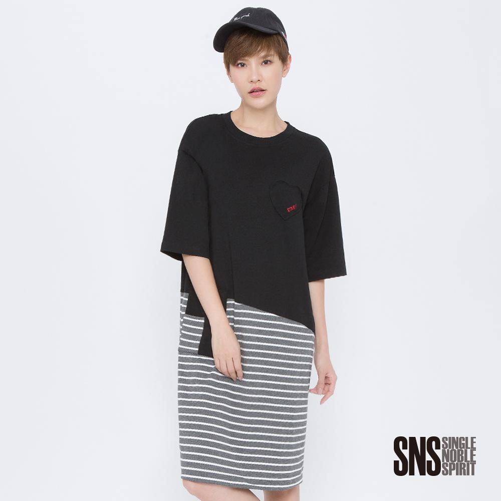 SNS 設計頑童斜裁拼接條紋洋裝(2色)