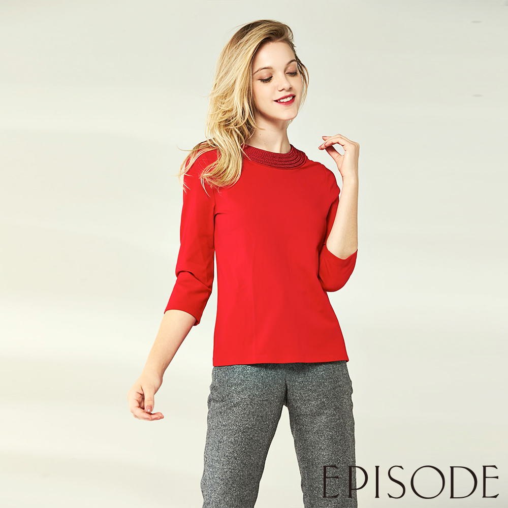 EPISODE - 亮麗編織設計七分袖上衣(紅)