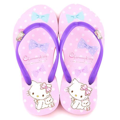 童鞋城堡-Charmmy Kitty 親子款 浪漫風格夾腳拖CK2717-紫