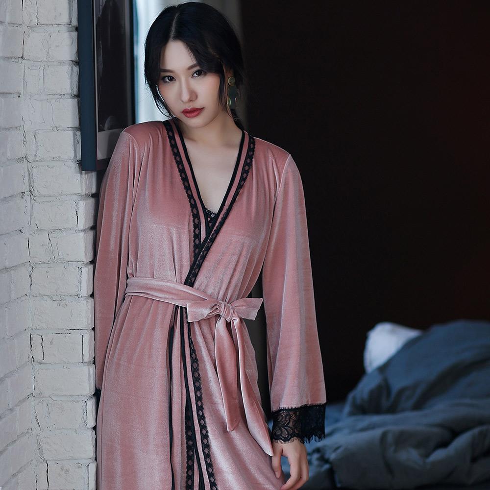 Wonderland 輕奢風金絲絨性感2件式洋裝(粉)