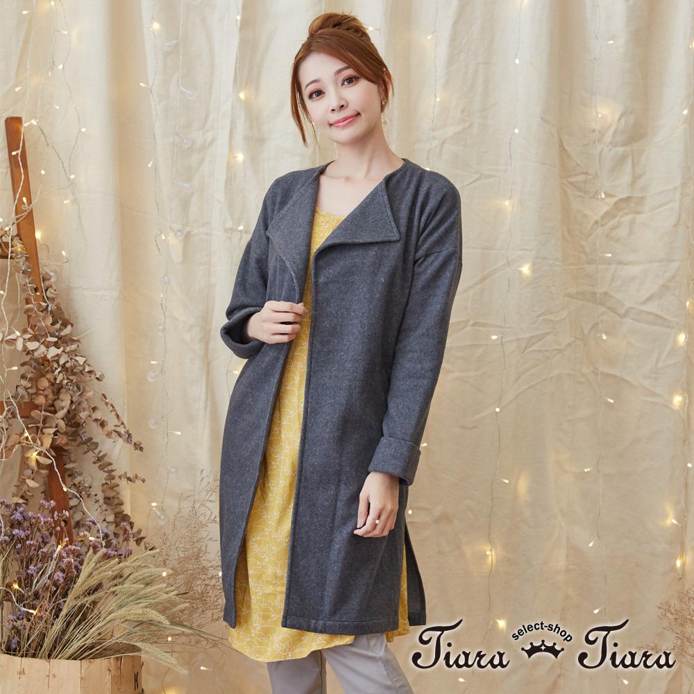 【Tiara Tiara】激安 素面長袖綁帶罩衫外套(灰)