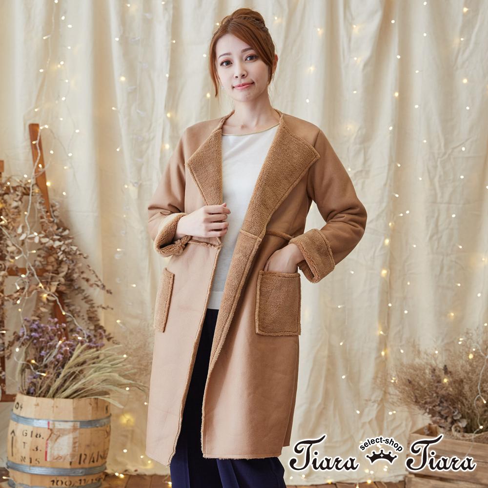 【Tiara Tiara】激安 光澤感長版綁帶大衣外套(深藍/卡其)