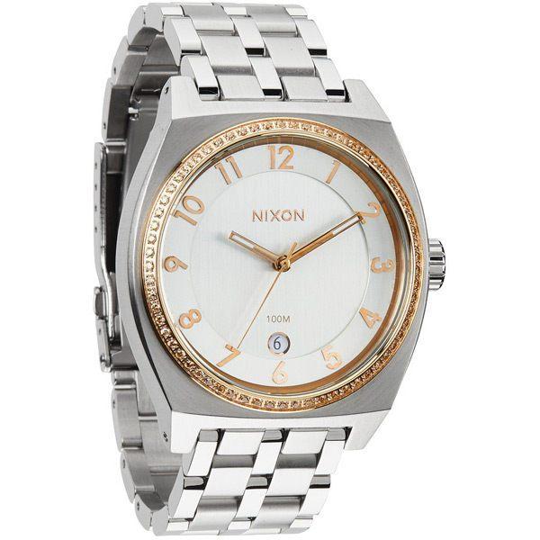 NIXON MONOPOLY輕巧晶鑽都會日期腕錶-銀x玫瑰金-A3251519