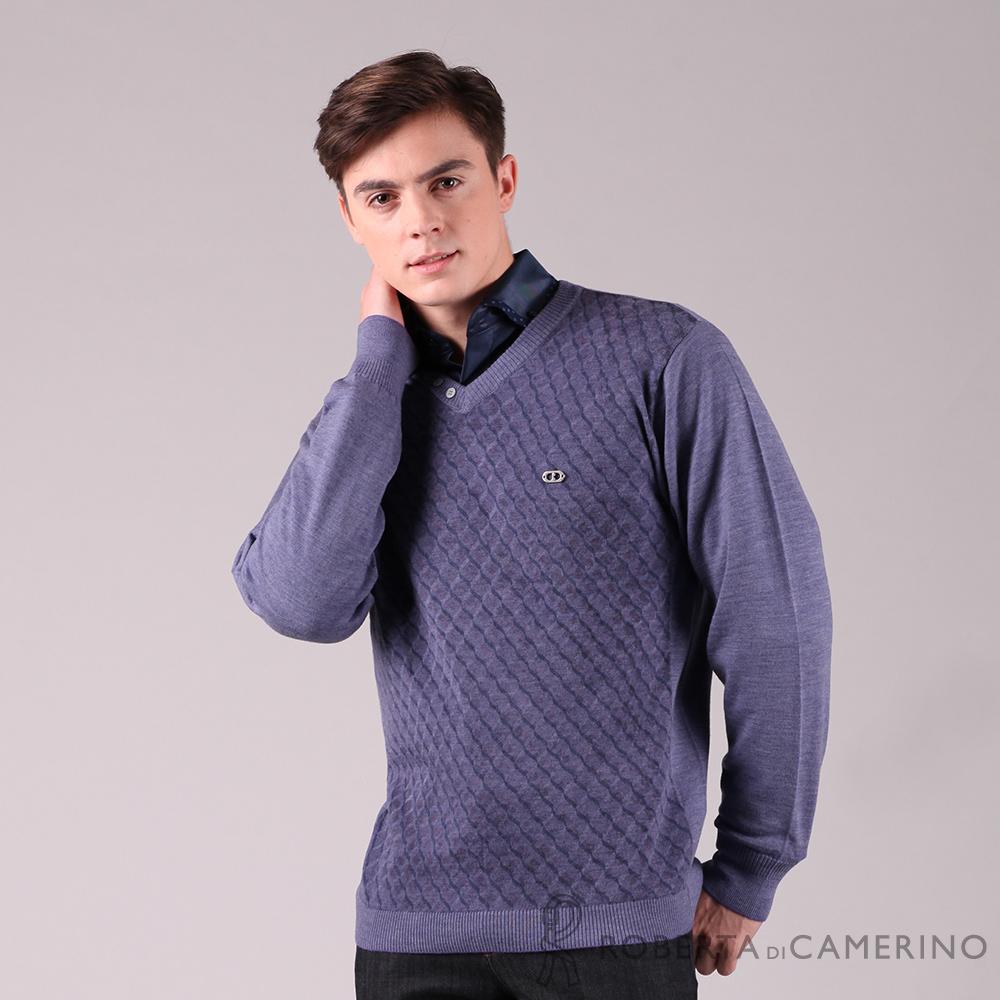 ROBERTA諾貝達 台灣製 燦爛迷人 特殊格紋純羊毛衣 紫色