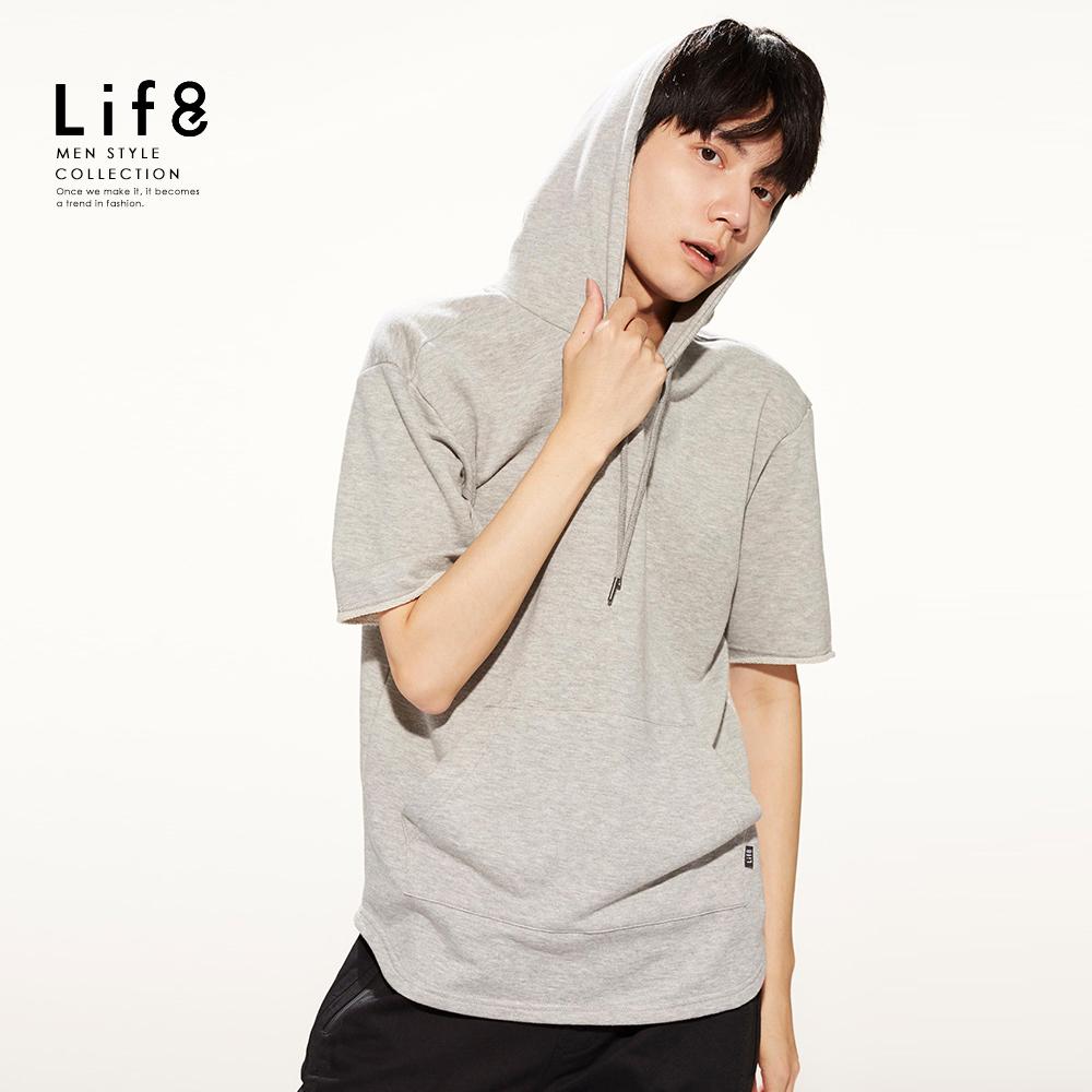 【Life8】Casual 精選微棉 圈圈布短袖連帽TEE-10143-麻花灰