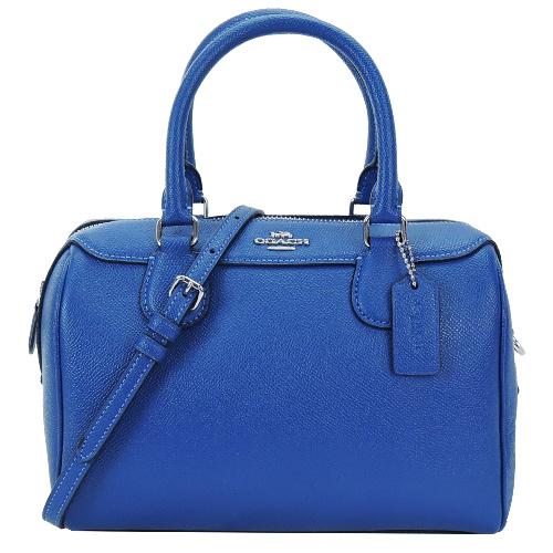 COACH立體馬車防刮皮革手提/斜背兩用波士頓包(寶藍)