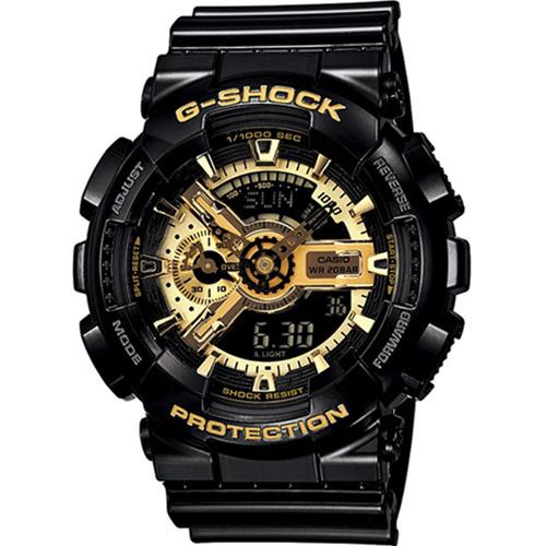 G-SHOCK 重機裝備 雙顯運動錶 GA-110GB-1A 黑金
