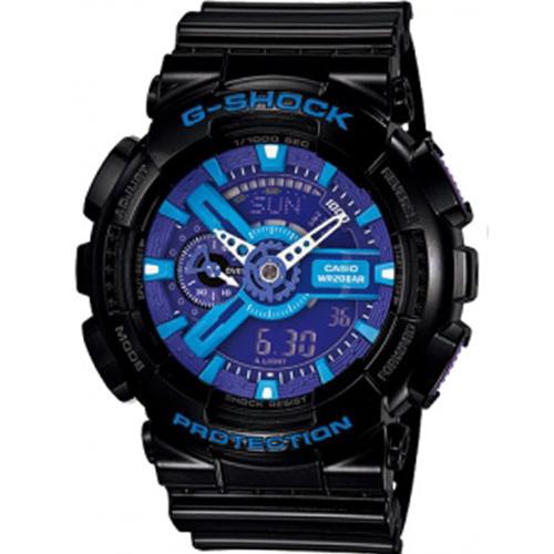 CASIO G-SHOCK 繽紛樂高 雙顯運動錶 GA-110HC-1A 黑x藍