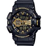 G-SHOCK 街頭搖滾金屬風多層次運動錶 GA-400GB-1A9 黑x金