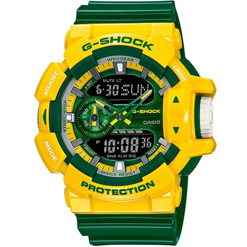 G-SHOCK 玩酷撞色運動錶 GA-400CS-9A 黃x綠