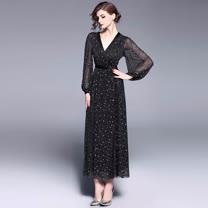 Olivia奧莉精品 時尚V領星空網紗長洋裝 S~XL 蕾絲 網紗 洋裝 連身裙 禮服 伴娘服 媽媽裝