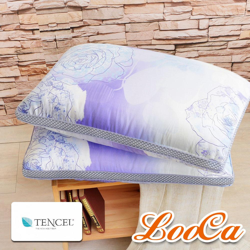 【LooCa】薔薇天絲蠶絲60顆獨立筒枕(2入)