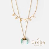 Orelia LONDON英國設計師品牌<br>迷你硬幣綠松石牛角層次項鍊