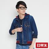 EDWIN 合身迦績牛仔外套-男-酵洗藍