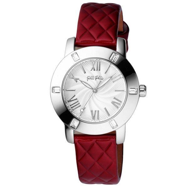 Folli Follie 時尚羅馬都會晶鑽腕錶(皮帶-紅)-WF1A005SPS