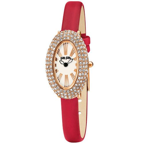 Folli Follie 時尚之卵都會晶鑽腕錶-紅-WF13B041SPW-RE