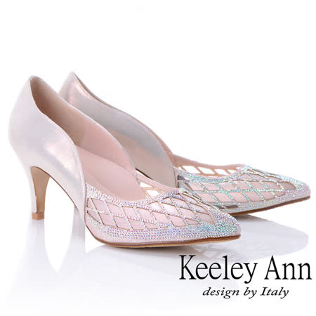 Keeley Ann 幾何鏤空網紗水鑽跟鞋
