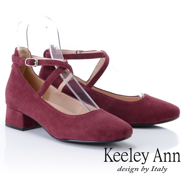 Keeley Ann氣質甜美~交叉細帶粗跟全真皮瑪莉珍鞋(酒紅色885303457)