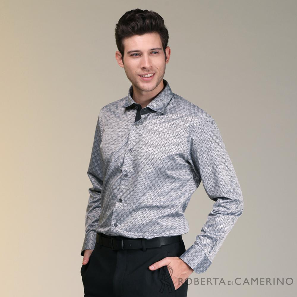 ROBERTA諾貝達 台灣製 合身版歐風長袖襯衫 灰色