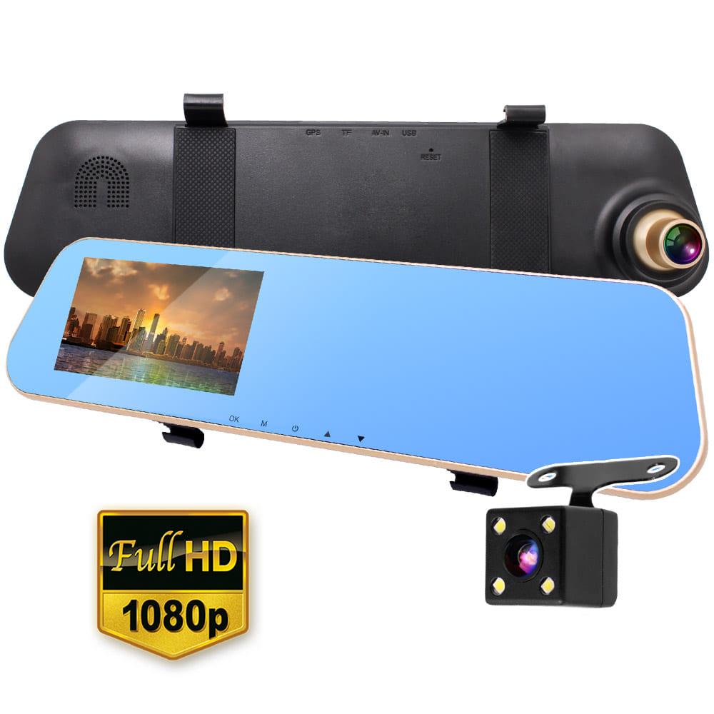 【贈32GB記憶卡】【IS愛思】RV-05XW PLUS 防炫後視鏡前後雙鏡頭高畫質行車紀錄器