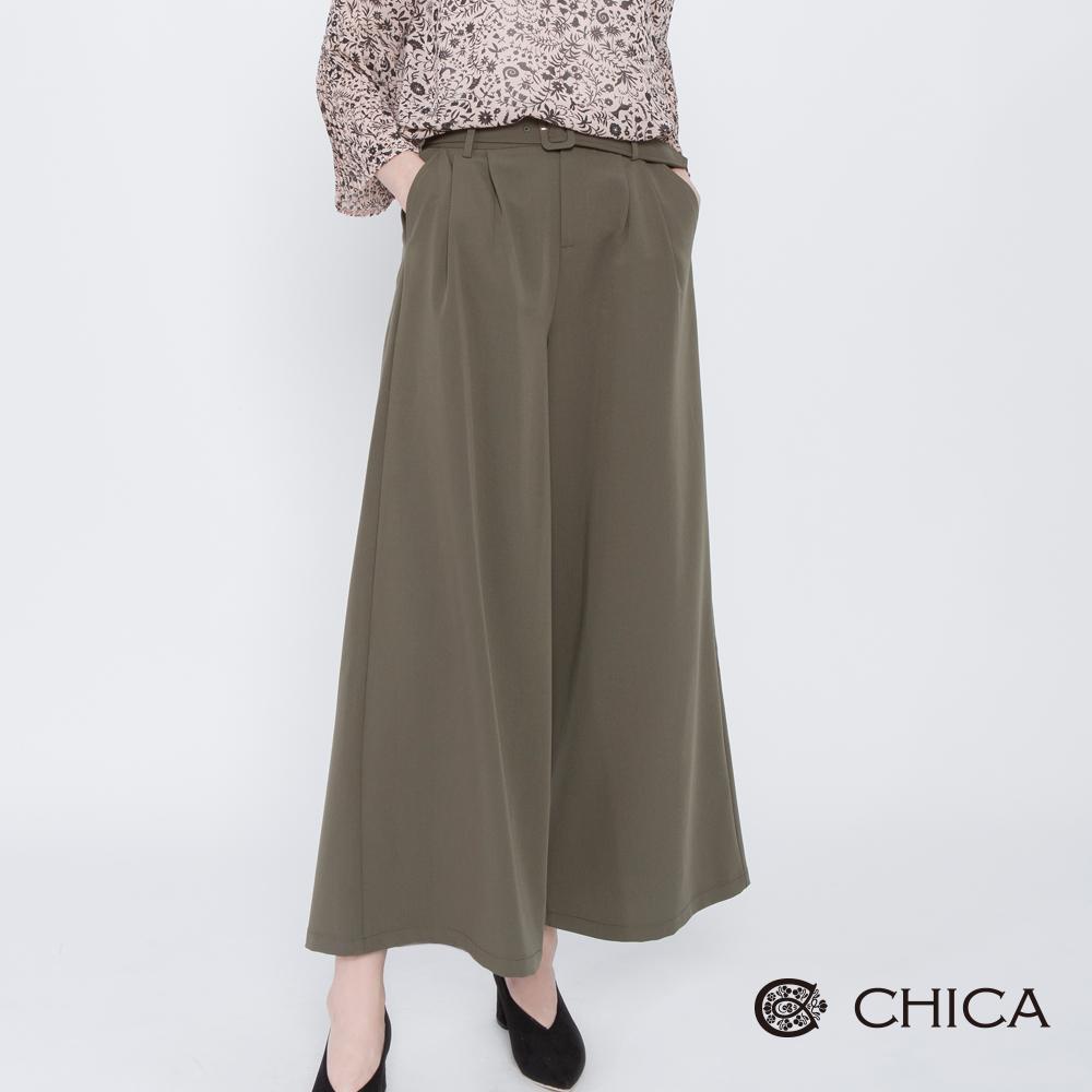 CHICA 知性凡賽斯腰帶打褶落地寬褲(2色)
