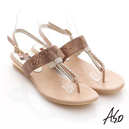 A.S.O 軟芯系列  水鑽T字減壓涼鞋