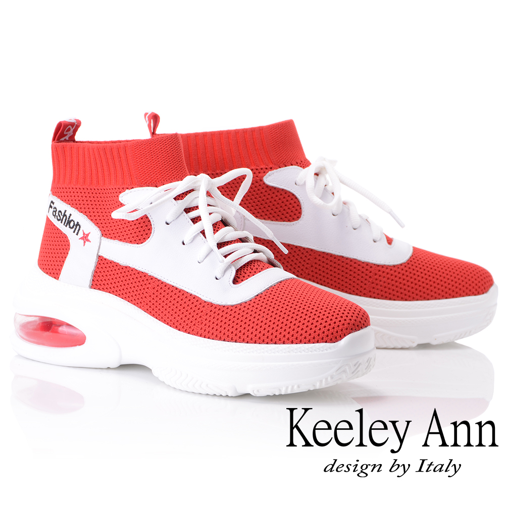Keeley Ann個性玩酷~韓版襪套式氣墊休閒鞋(紅色876772350-Ann系列)