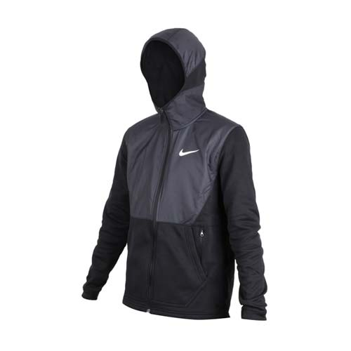 (男) NIKE 運動外套-連帽外套 保暖  路跑 黑白