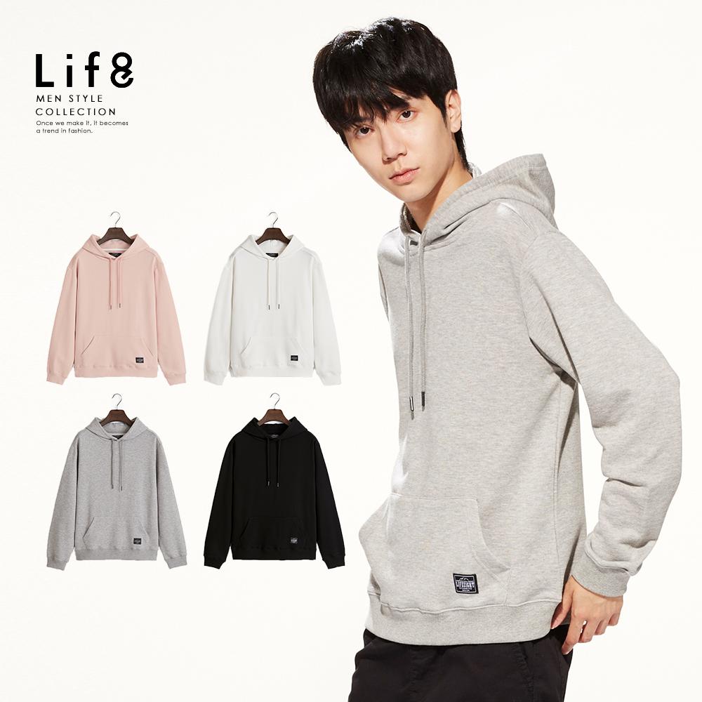 【Life8】Casual 精選微棉 圈圈布連帽TEE-黑色/白色/麻花灰/暗粉紅-10147