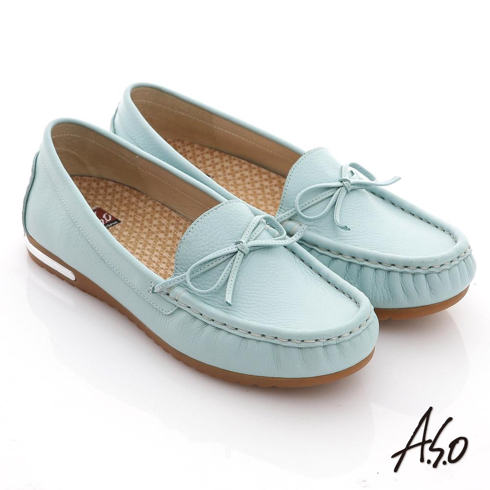 A.S.O 縫線耐走 全牛皮細帶蝴蝶平底鞋(粉藍)