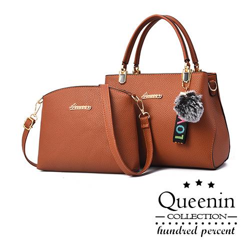 DF Queenin日韓 - 歐美都會時尚淑女單肩手提子母包-共3色