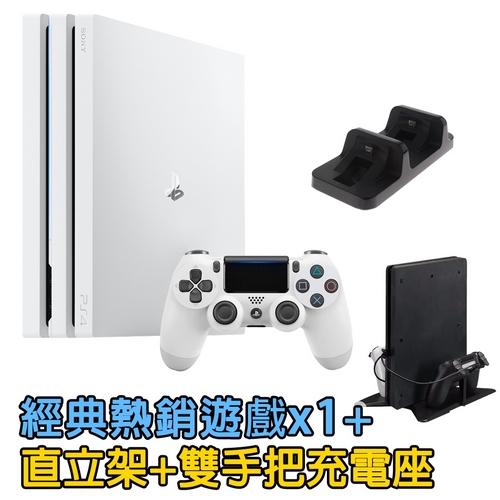 SONY PS4 Pro 7218 1TB 冰河白+經典熱銷遊戲乙片-送DOBE充電座+雙用直立架