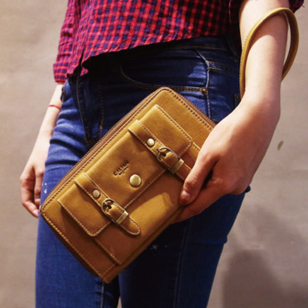 CALTAN - 女用真牛皮手提長皮夾 多功能 證件夾 名片夾 鈔票夾-2080ht