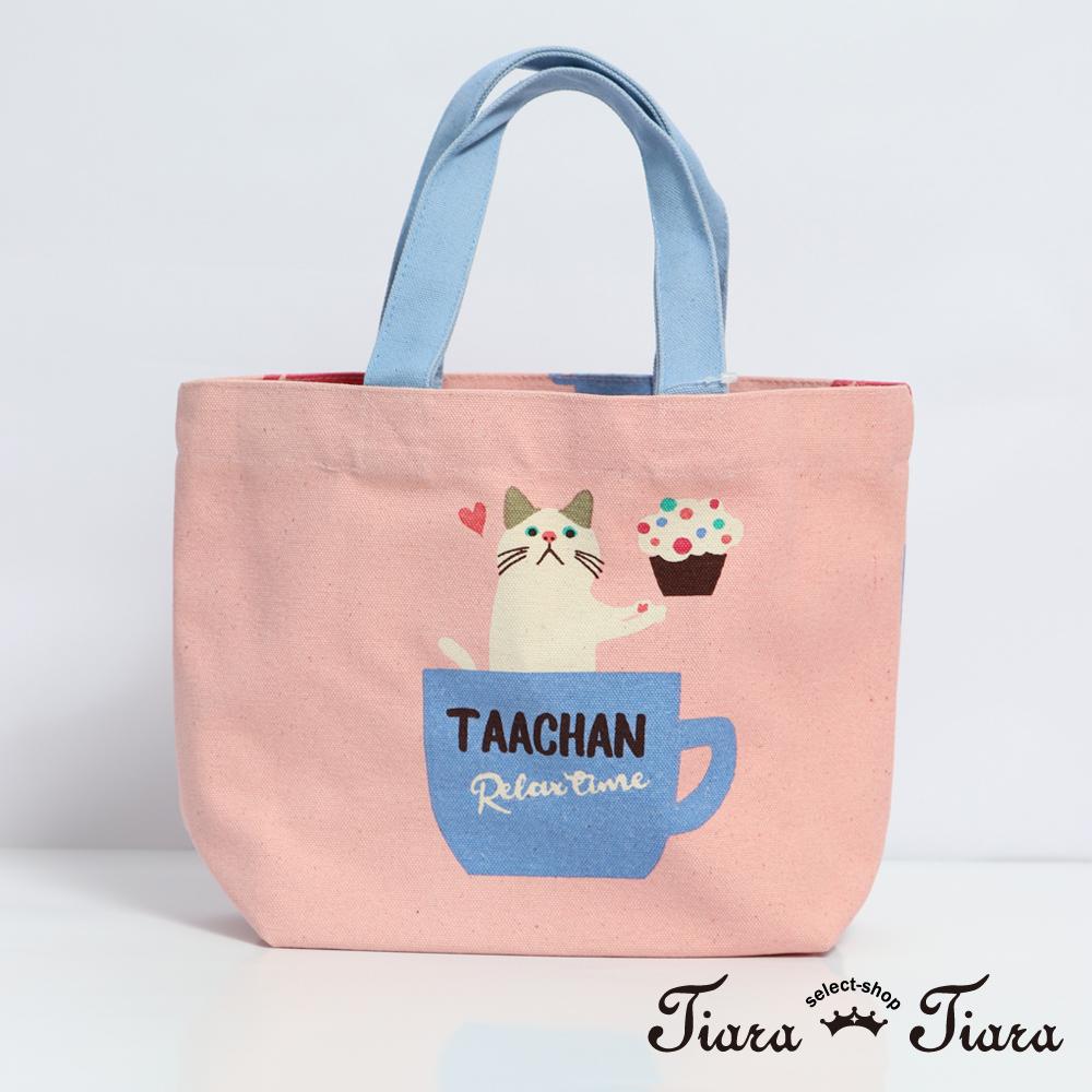 【Tiara Tiara】TAACHAN貓咪下午茶時間手提袋 帆布袋(粉)