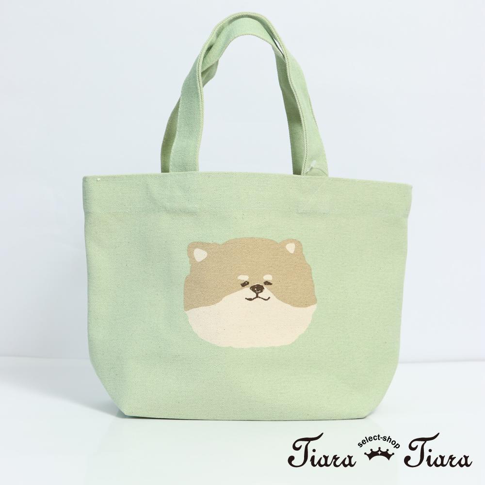 【Tiara Tiara】大圓臉柴犬手提袋 帆布袋(綠)